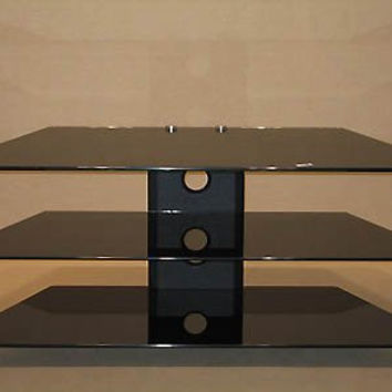 "TV Stand Black Tempered Glass - holds up to 42"" Plasma/LCD (Black Glass and Metal) (20""H x 45.15""W x 18""D)"