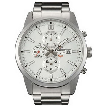 Orient TT12004W Men's SP White Dial Stainless Steel Chronograph Watch