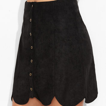 Black Suede Scallop Panel Skirt