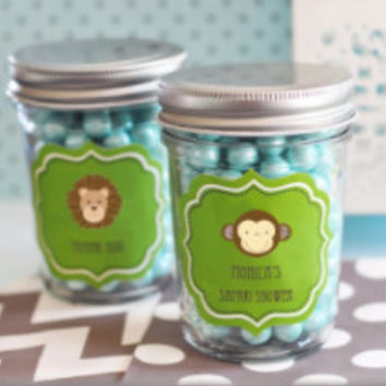Mini Mason Jar Baby Shower Favors Personalized with Baby Animal Labels (Minimum Qty 24)