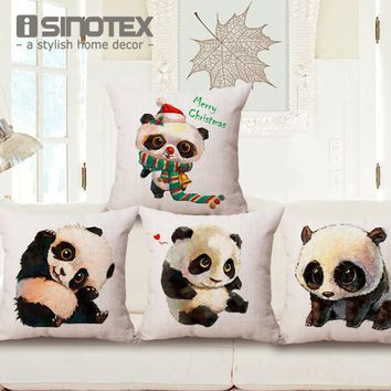 Cushion Cover Cute Panda Cotton Linen Throw Pillow Case Baby Room Decorative Sofa Chair Seat 45*45Cm 17.7*17.7'' Merry Christmas