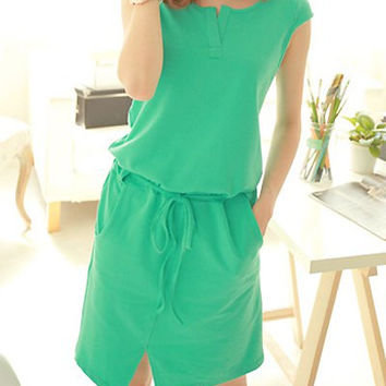 Green Short Sleeve Drawstring Waist Midi Dress