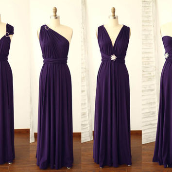 Plum Purple Bridesmaid Dress Infinity Dress Jersey Wrap Convertible Dresses Wedding Dress