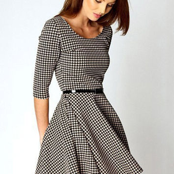 Black and White Houndstooth Print Half Sleeve A-line Pleated Mini Dress with Belt