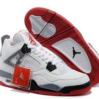 Cheap Nike Air Jordans 4 Retro Men White Shoes Grey Red