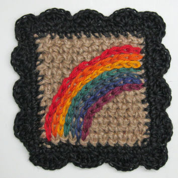Rainbow Wall Art - Hippie Decor - Rainbow Wall Hanging - Rainbow Decor - Gay Pride Rainbow - Child's Room - 60s Retro - Groovy Handmade Jute