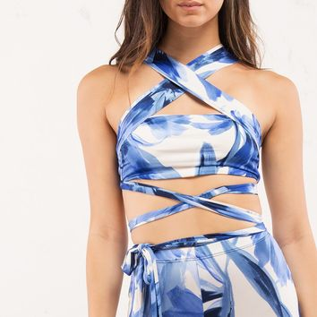 Patterned Bandeau Crop Top with Tie in Blue and White