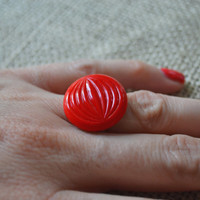 Vintage Button Ring, Red Carved Button, Adjustable, Cocktail Ring
