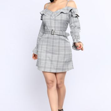 Wall Street Plaid Dress - Grey