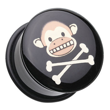 Island Monkey Pirate Single Flared Ear Gauge Plug
