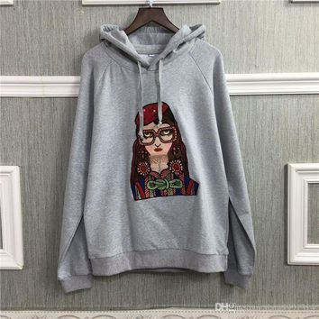 high quality New women beautiful girl embroidered sweatshirt European and American style trend dog head embroidery terry long-sl