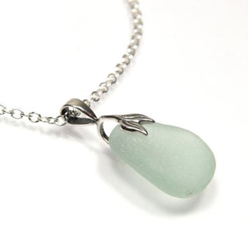 Seafoam Blue Sea Glass Pendant Necklace, MERMAID, Sea Glass Jewelry, Beach Glass Necklace, Seaglass Jewelry, Mother'sDay