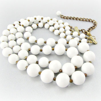 Vintage White Bead Necklace,  Lucite Bead Necklace, Double Multi-Strand Necklace, 1950s 1960s Wedding Bridal Costume Jewelry