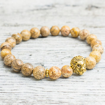 Brown jasper stone beaded gold Lion head stretchy bracelet, yoga bracelet, mens bracelet, womens bracelet