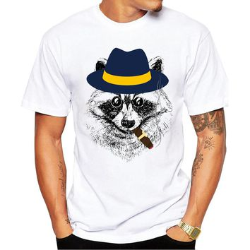 New 2016 Summer Fashion Raccoon Retro Design T Shirt Men's Smoking Raccoon Printed T-shirt High Quality Tops Hipster Tees