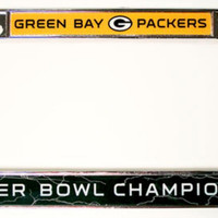 Rico Chrome License Plate Frame - NFL Super Bowl 45 Champion Green Bay Packers
