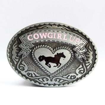 Cowgirl Up Western Horse Oval Belt Buckle
