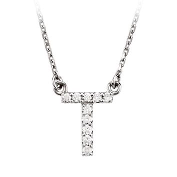1/10 Cttw Diamond & 14k White Gold Block Initial Necklace, Letter T