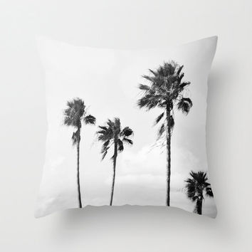 Black Palms - Throw Pillow Cover, Light Gray Surf Coastal Accent, Tropical Palm Trees Home Decor Furnishing in 14x14 16x16 18x18 20x20 26x26