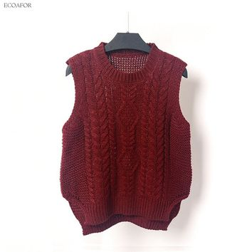 Round Neck Cable Knit Vest Sweater Women Preppy Style Sleeveless Pure Color Split Slit Hem O-Neck T Jumper Female Vest Pullovers