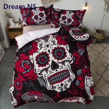 Floral Sugar Skull 3pc Duvet Set (2 Colors)