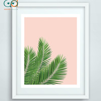 Tropical Print, Palm Leaf Digital, Woman Gift Palm, Home Decor Palm Leaves Pink Wall Art, Palm Tree Print, Tropical Digital Art Spa