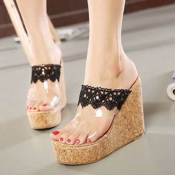 Wedge Lace Bohemia Classics Summer Shoes = 4814772292