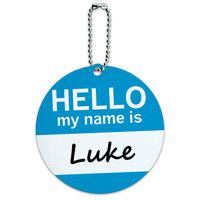 Luke Hello My Name Is Round ID Card Luggage Tag