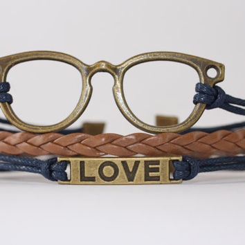 WISDOM~ Glasses Love Bracelet, Ophthalmologist, Optometrist, Optician, Eye Glasses, Vision, Geekery Bracelet, Nerd Gift,  ilovecheesygrits