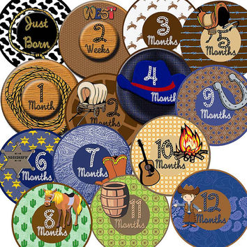 14 Cowboy or Cowgirl Country Western Old West Southern Baby Boy or Girl Monthly Milestone Onesuit Stickers Newborn Shower Gift