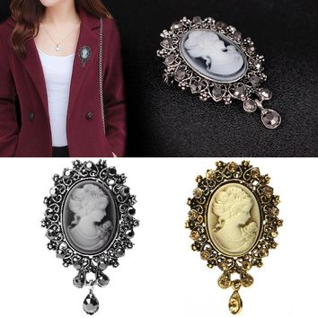 Lady Vintage Cameo Victorian Style Wedding Party Women Pendant Brooch Pin  t15