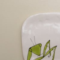 Small ceramic insect plate, green praying mantis dish, woodland forest home decor, small hostess gift
