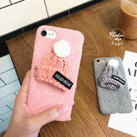 Korea lovely wool hat for iPhone7 plus phone shell Apple iPhone6 / 6s plush cloth protection tide female models-iHomegifts