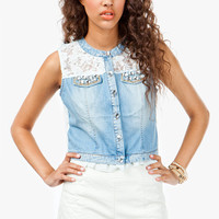A'GACI BEJEWELLED CROP DENIM VEST - TOPS