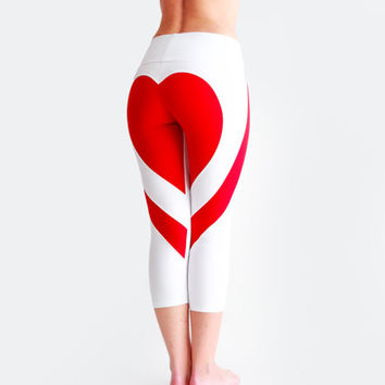 White Yoga Pants, Heart Leggings, Sexy Yoga Pants, Running Tights, Heart Booty Pants, Workout Capri, White Leggings, Valentine Day Gift