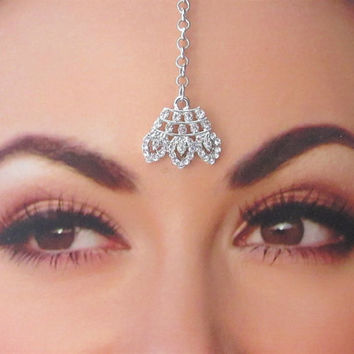 Silver Crown Shape Rhinestones Tikka/Maang Silver Tikka/ Indian India Matha Tika Jewelry/Head-Piece Jewelry/ Bridal Small Tikka/Indian Tikka