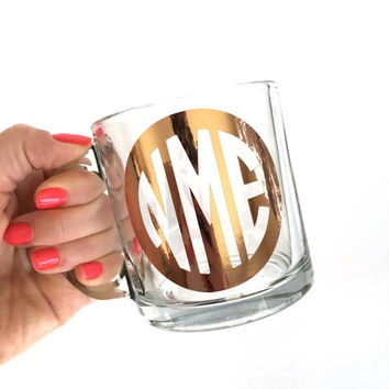 Monogram Mug, Monogram Cup, Rose Gold Cup, Glass Coffee Mug, Cute Coffee Mug, Gift for Her, Coffee Mug
