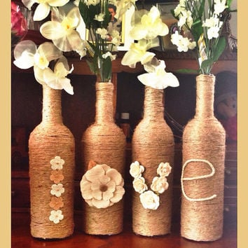 Twine LOVE wine bottle decor- Rustic Wedding, Event, Party, Center piece, cottage chic, farmhouse, home decor