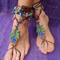 $90.00 Gypsy Barefoot sandals Peacock feather by GPyoga