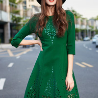 Green Half Sleeve Cut Out Skater Dress