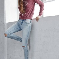 Bullhead Denim Co. Meadow Cloud Ripped Mid Rise Skinny Jeans at PacSun.com