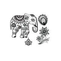 Indian Elephant -Temporary tattoo set - Stay At Home Gypsy