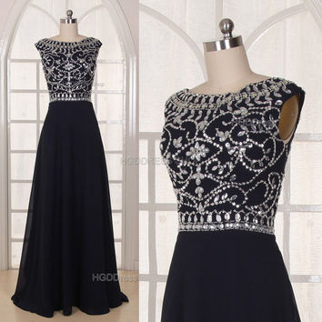 Black Bridesmaid Dress Handmade beading/Crystal Rhinestone Chiffon Prom Dress Long Prom Dress Party Dress Long A-Line Formal Evening Dress