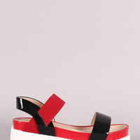 Two Tone Open Toe Flatform Sandal