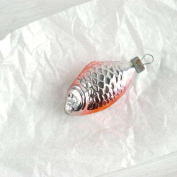 vintage Christmas ornament small FISH salmon and silver. made in USSR 1960's. Holiday decoration, Christmas gift