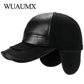 Trendy Winter Jacket Wuaumx NEW Fall Winter Baseball Caps Men With Ear flaps Cotton PU Leather Warm Thick Snapback Cap Men Dad Hat Casquette homme AT_92_12