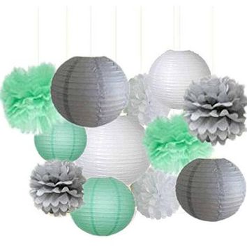 Mint White Gray Party Tissue Poms & Lantern Set-DIY Mint Green Party Set, Mint Birthday | Boys Baby Shower |Boys Birthday Party
