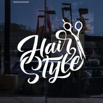 Window Vinyl Wall Decal Beauty Hair Salon Hairstyle Style Scissors Haircut Stickers (2173igw)