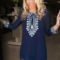 Embroidered Lace Up Tunic