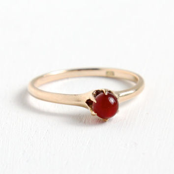 Antique 10k Rose Gold Carnelian Solitaire Ring- Hallmarked Edwardian Art Deco Early 1900s Fine Jewelry